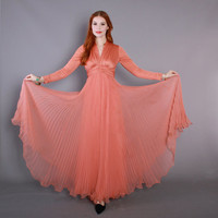 70s Dramatic CORAL Chiffon DRESS / 1970s Deep V-Neck Full Sweep Pleated Maxi, xs-s