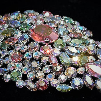 Vintage HUGE Signed AUSTRIA Rhinestone Brooch Mid Century AB Aurora Borealis Austrian Crystals Hollywood Wedding Bride Bridal Jewelry