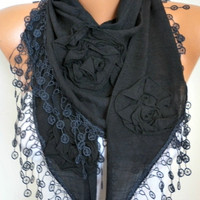 Black Cotton Floral Scarf Spring Summer Scarf Cowl Lace Shawl Necklace Bridesmaid Gift Gift Ideas For Her Women Fashion Accessories Scarves