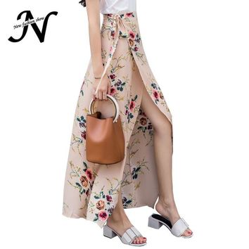 Floral Print Maxi Skirt Summer 2017 High Waist Chiffon Beach Long Skirts Womens Open Slit Asymmetrical Beach Skirt White Apricot