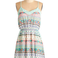 ModCloth Boho Short Length Spaghetti Straps A-line Isn't She Lively? Dress