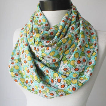 green daisy scarf,infinity scarf, scarf, scarves, long scarf, loop scarf, gift