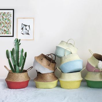 Painted Seagrass Belly Baskets. Multiple Colors Available. Woven Straw Belly Baskets. Blue, Yellow, White, Red, Green Purple Pink Painted Seagrass Belly Baskets