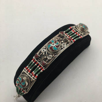 Vintage Nepalese Red Coral & Green turquoise Inlay Statement Bib Bracelet, NPB57