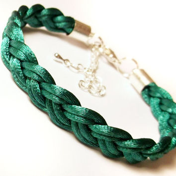 Braided bracelet woven rope plaited cord macrame friend knot adjustable modern satin jewelry gift for her- teal green jade