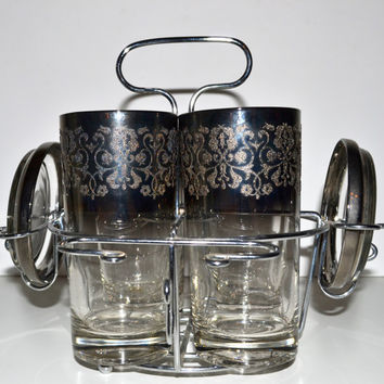 Vintage Mid Century Royal Luster Etched Silver Ombre Highball Glasses Set of 4 with Caddy and Coasters Barware Set