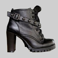 Sexy Black Women's Block Heel Shoes Ankle Boots Rivets Bootie Lace Up Buckle 1oj