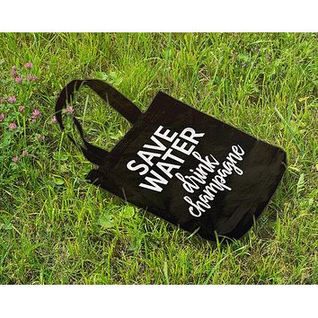 Save Water Drink Champagne Cotton Canvas Tote in Black