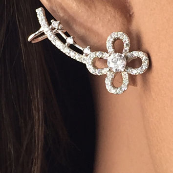 Sterling silver and CZ flower earrings w/cuff