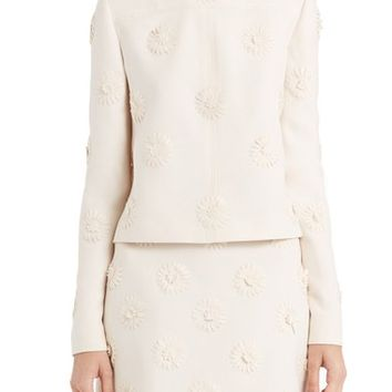 Valentino Daisy Embroidered Crepe Couture Top | Nordstrom