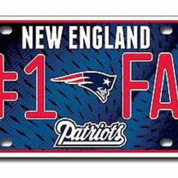 ONETOW New England Patriots #1 Fan 1502 Metal Aluminum Tag License Plate Football
