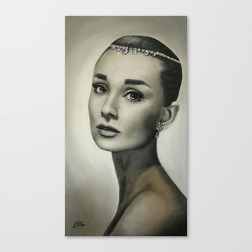 Audrey Hepburn Stretched Canvas by Claire Lee Art