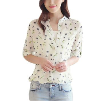 Women Bird Printed Chiffon Blouse Ladies Long Sleeve Casual Shirts Tops Blouse Clothes New Sale