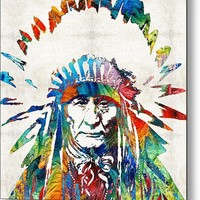 Native American Art - Chief - By Sharon Cummings Metal Print