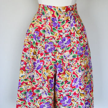 1980's rayon skorts, Bobbie Brooks split skirt, medium, size 8, high waist skirt, floral print.