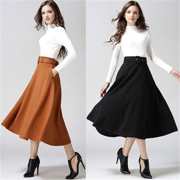 New Fashion Women Winter Skirts Vintage High Waist Woolen Saias Solid Faldas Long Thick Maxi Skirts With Belt Liner