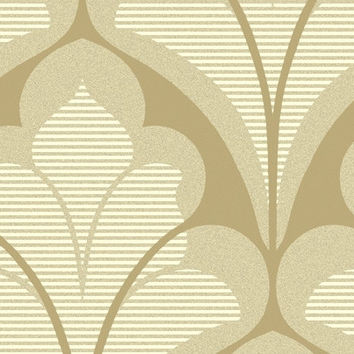 Sample of Damask Geometric Wallpaper in Metallic, Ivory and Beige by Seabrook Designs