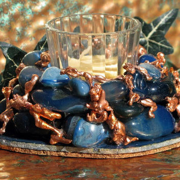 Votive Candleholder with Blue Agate and Micigan Copper, Home Decor, Candlelight, Metaphysical