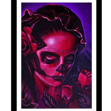 Day of the Dead Mary Art Print by Artist Manuel Valenzuela
