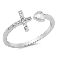 .925 Sterling Silver Ladies CZ Heart and Sideways Christian Cross Wrap ring Size 4-10