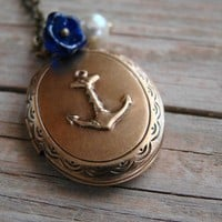 Gold,Anchor,Locket,Necklace,Wedding,Bride,Navy,Ocean, Sea,Nautical,Pearl,Sister,Daughter,Sailing - Nautical Girl