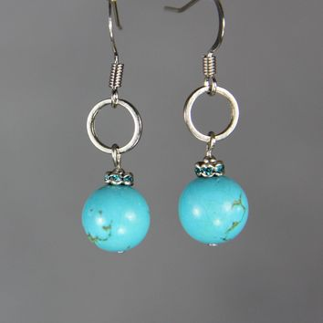 Turquoise simple hoop drop earrings Bridesmaids gifts Free US Shipping handmade Anni Designs