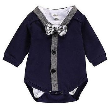 2 pc. Baby Boys Bow Tie Onesuit and Cardigan Set