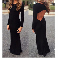 FASHION BACKLESS LONG-SLEEVED DRESS