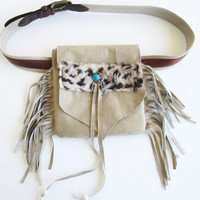 Tribal fanny pack/ Fringe Fanny Pack/Boho hip bag/ Upcycled utility belt/ Festival bag/ Gypsy bag.
