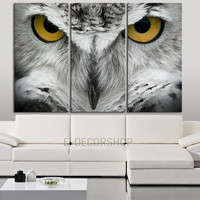 Large Wall Art 3 Panel Great Horned Owl Canvas Print | Captive Bird Eye Canvas Painting | Triptych Canvas Print | Yellow Eye Wall Art - MC25