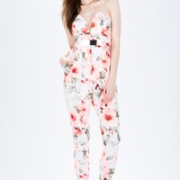 Floral Splash Buckle Jumpsuit
