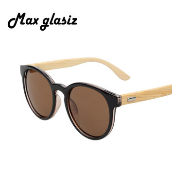 Polarized Bamboo Glasses Fashion Wooden Sunglasses Round Male Vintage Retro Men And Women Eyewear Gafas De Sol