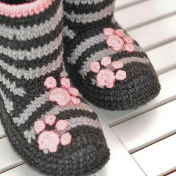 Crochet Boots Socks Slippers for Home Kitty Stripes Made to Order Orange Cozy Woman Boots