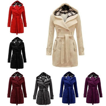 2016 New Women's Fashion Coat Jackets Trenchcoat Peacoat Hooded Raincoat Outerwear [8834057932]