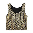 Gold Striped Crop Tank Top With Sequins
