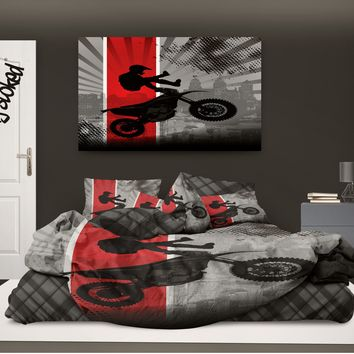 "Motocross Comforter ""Dream in Extreme"" in Red from Extremely Stoked Motocross Bedding collection"