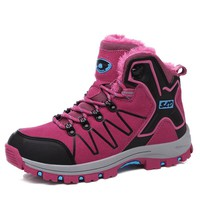 2017 Quality Winter Climbing Shoes Women Plus Cotton Hiking Shoes Trekking Boots Female Fur Thermal Ladies Pink Hiking Boots