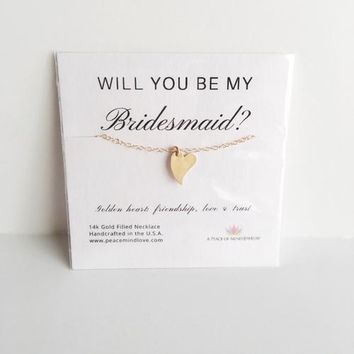 Will you Be My Bridesmaid Heart Necklace