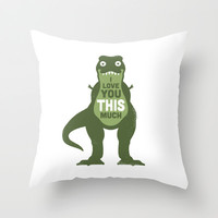 Amourosaurus Throw Pillow by David Olenick