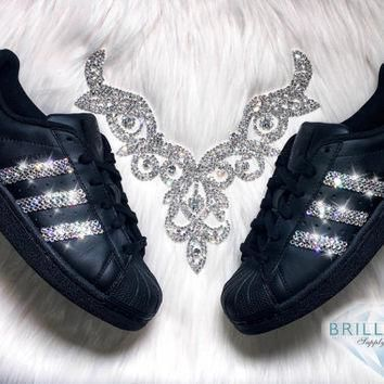 Adidas Superstar Womens Shoes Black With Black Stripes Customized with Swarovski? Crys