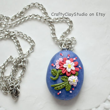 Filigree Necklace - Polymer Clay Necklace - Polymer Clay Jewelry - Applique Necklace - Applique Jewelry - OOAK Necklace - Flower Necklace