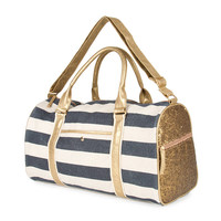 Ann Arbor Navy and Gold Striped Duffle Bag with Sequins