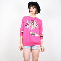 Vintage CAT Print Sweatshirt Hot Pink Sweater 1980s 80s Kittens Jumper New Wave Cats T Shirt Slouch Top Pullover New Wave Kawaii L Large XL