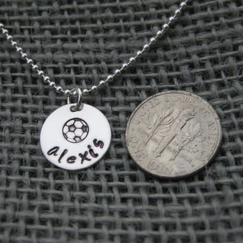 Soccer Necklace Personalized Sterling Silver Hand Stamped Team Coach Gift Jewelry
