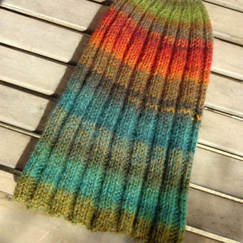 Knit Beanie, Ribbed Knit Watchcap, Striped Hat, Green Orange Blue Hat, Multi Color Striped Hat, Wool Blend Hat, Mens Womens Teens Slouchy