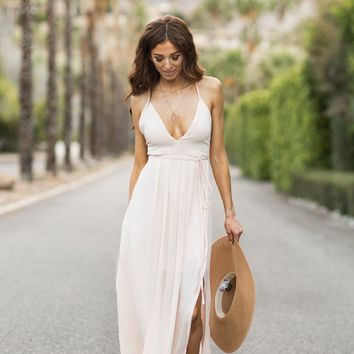 Audrina Blush Flowy Maxi Dress