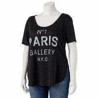 About A Girl Graphic Print High-Low Tee - Juniors' Plus, Size: