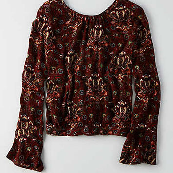 AEO Tie Back Shirt, Burgundy
