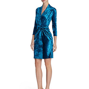 Catherine Catherine Malandrino Diana Velvet Gathered Interlock Dress