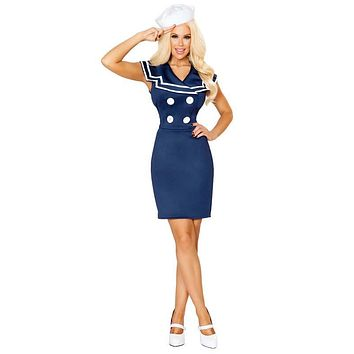 Ahoy Sailor Girl Midi Dress Costume with Button Detail and Hat